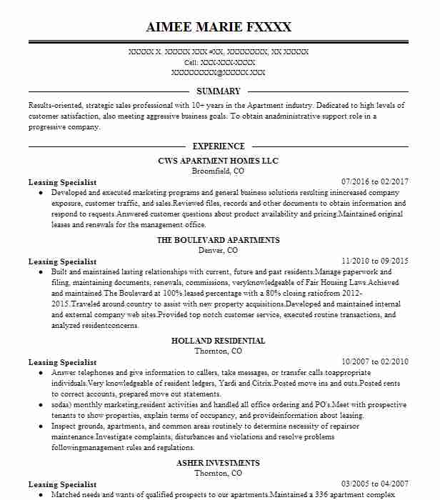 621 Property Management Resume Examples in Colorado | LiveCareer