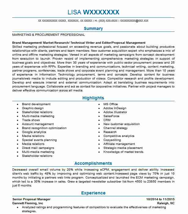 Marketing And Proposal Assistant Resume Example DHI Water