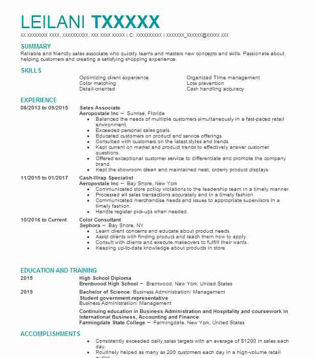 sales associate - Animal Science Student Resume
