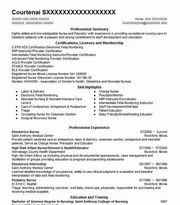 obstetrics nurse resume sample