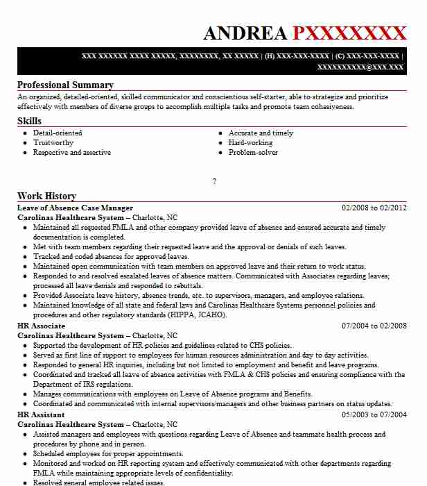 hr manager and leave of absence coordinator resume example