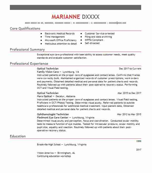 Optical Technician Resume Example (Family Vision Care) - Decatur ...