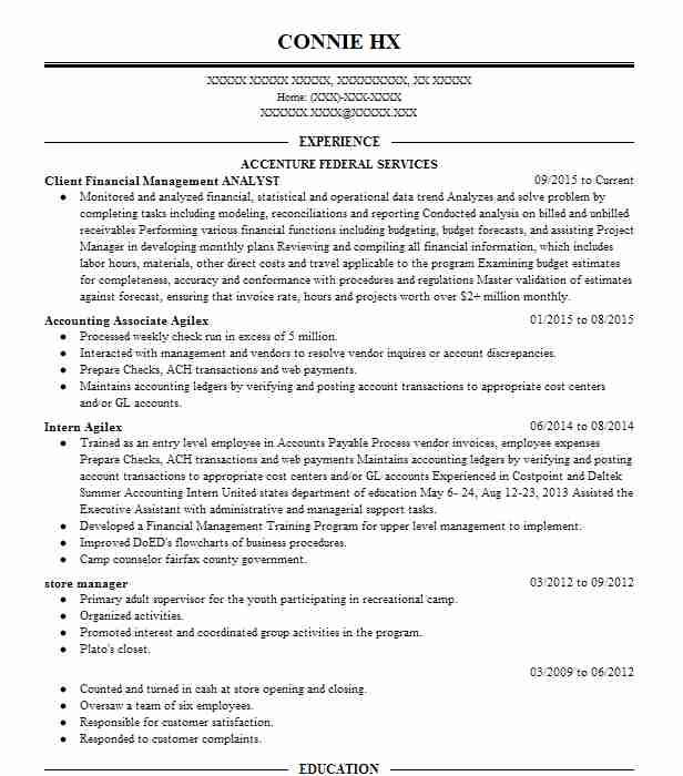 financial management analyst resume example dept of navy