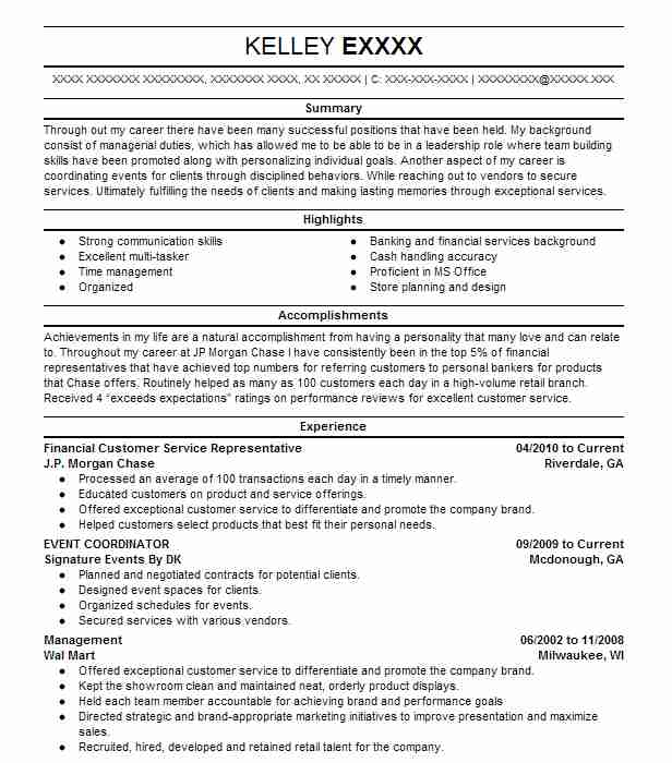 Best Financial Customer Service Representative Resume