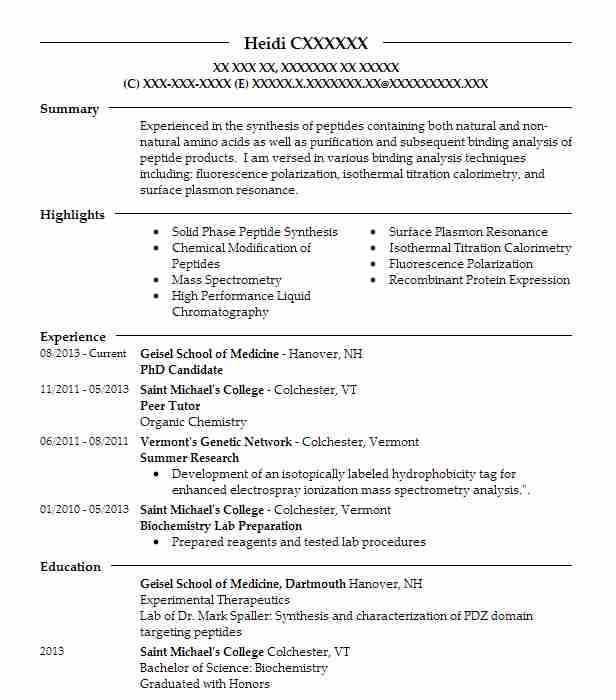 Resume candidate for phd