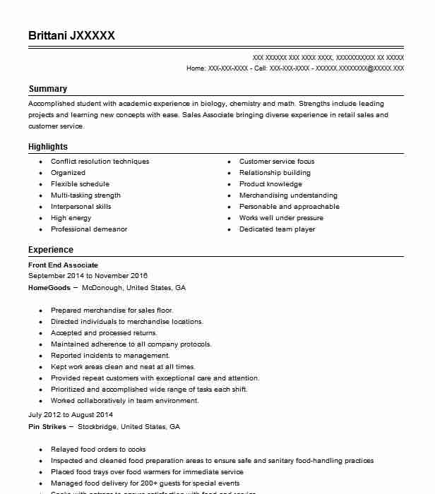 Front End Coordinator Sales Associate Resume Example Tj