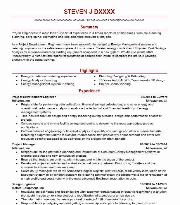 93 Energy And Utilities Resume Examples in Wisconsin | LiveCareer