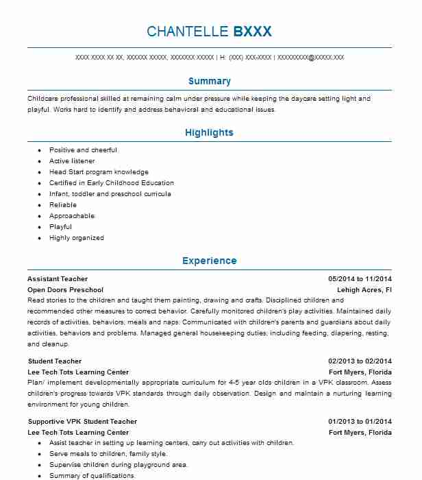 Objectives For Resumes For Teachers: Assistant Teacher Objectives