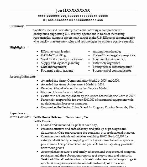 fedex courier resume example fedex