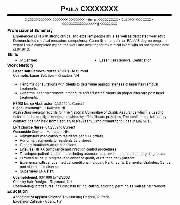 nurse injector  laser technician resume example about face