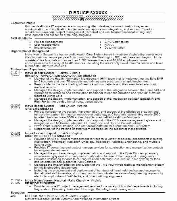 epic application analyst resume example emerging health it