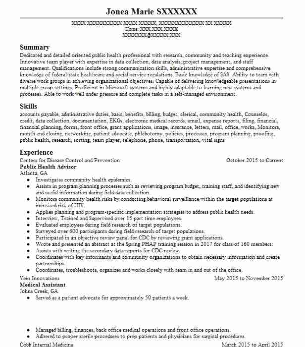 public health advisor resume sample