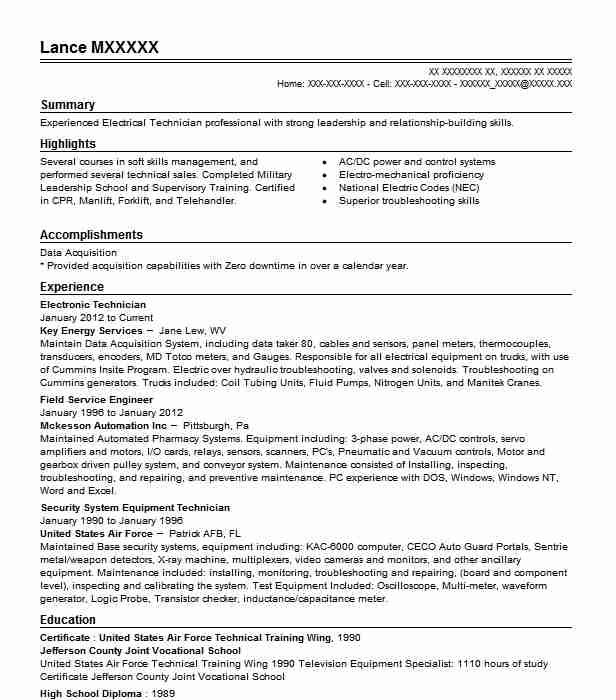 electronic technician resume sample
