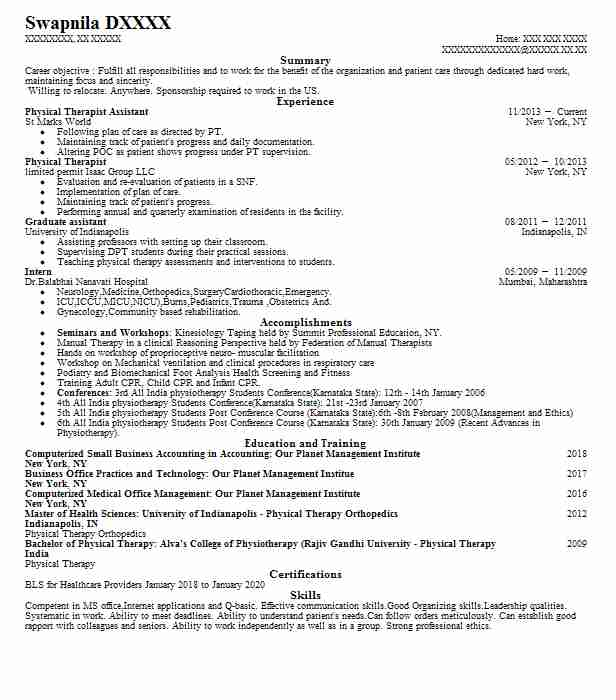 Physical Therapist Assistant  Physical Therapy Resume Sample
