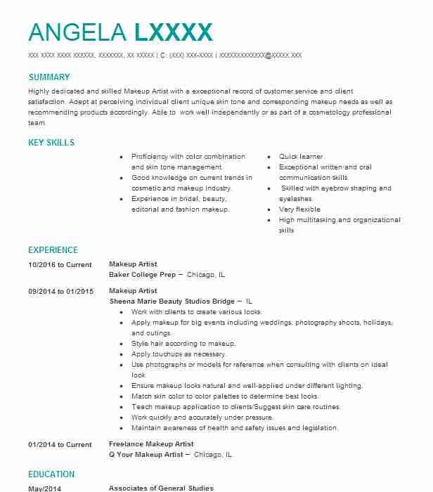 Makeup Artist Resume Objectives Resume Sample | LiveCareer