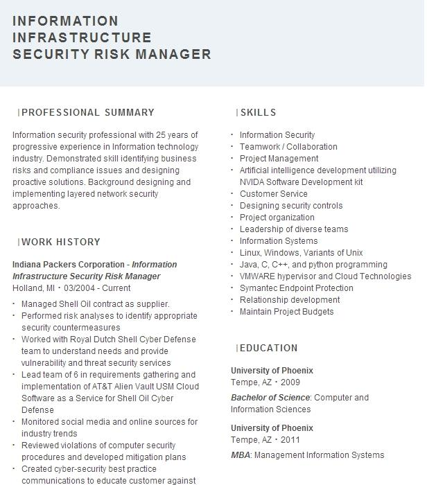 information security and risk management resume example
