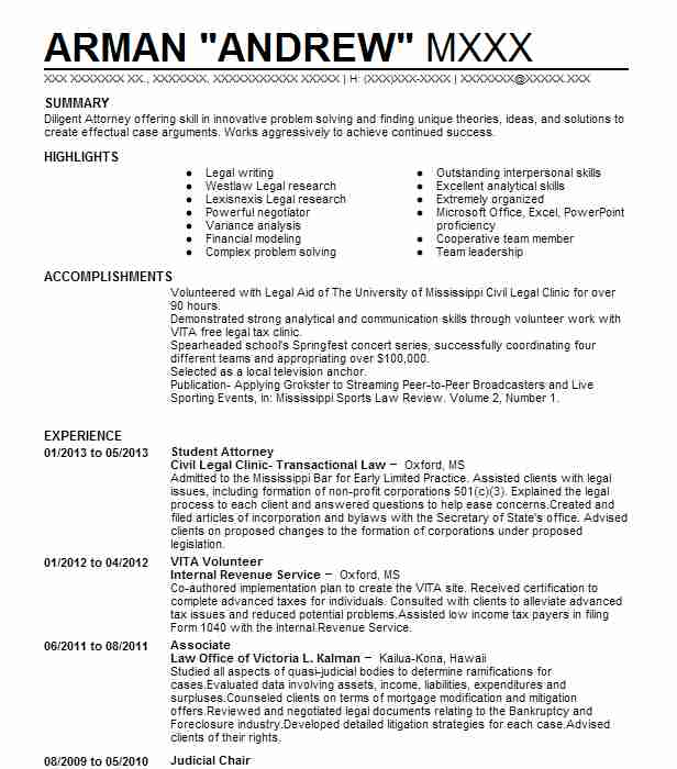 student attorney resume example international human rights