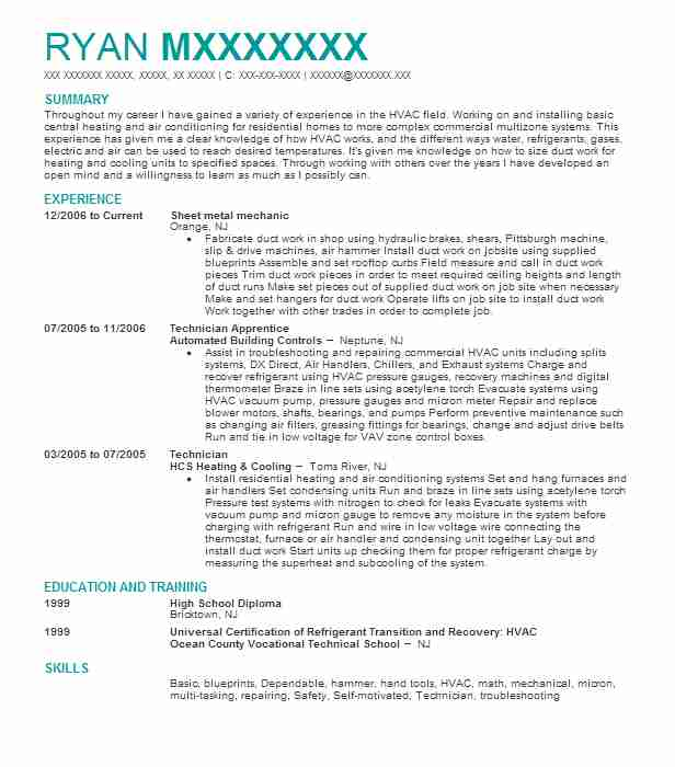 Sheet Metal Mechanic Resume Sample Mechanic Resumes