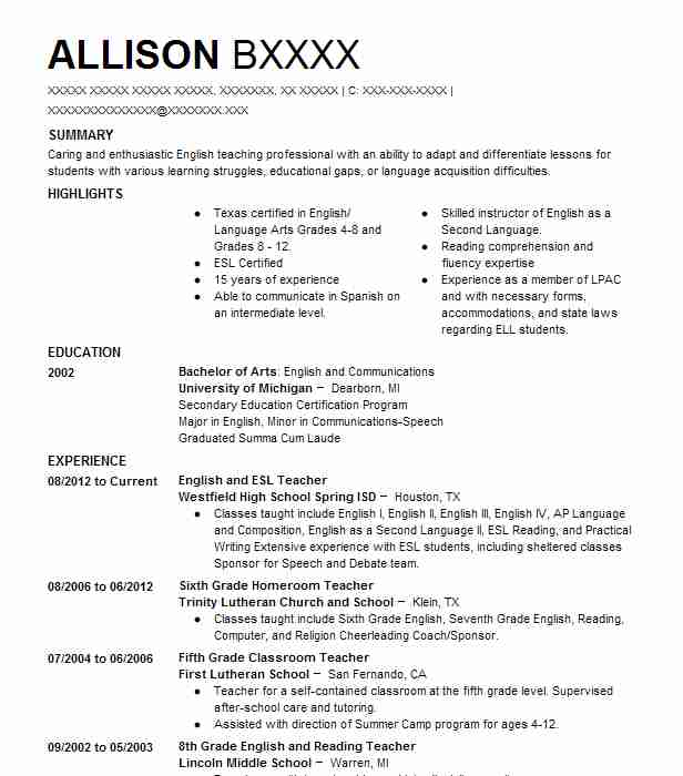 find resume examples in tomball  tx