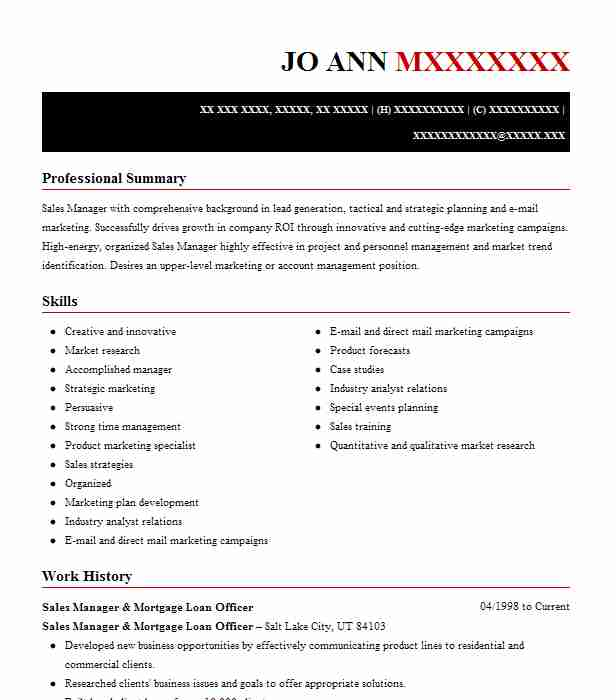Mortgage Sales Manager Resume Example PNC