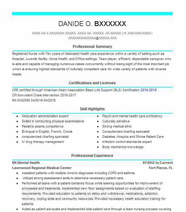 RN Mental Health  Psych Nurse Resume