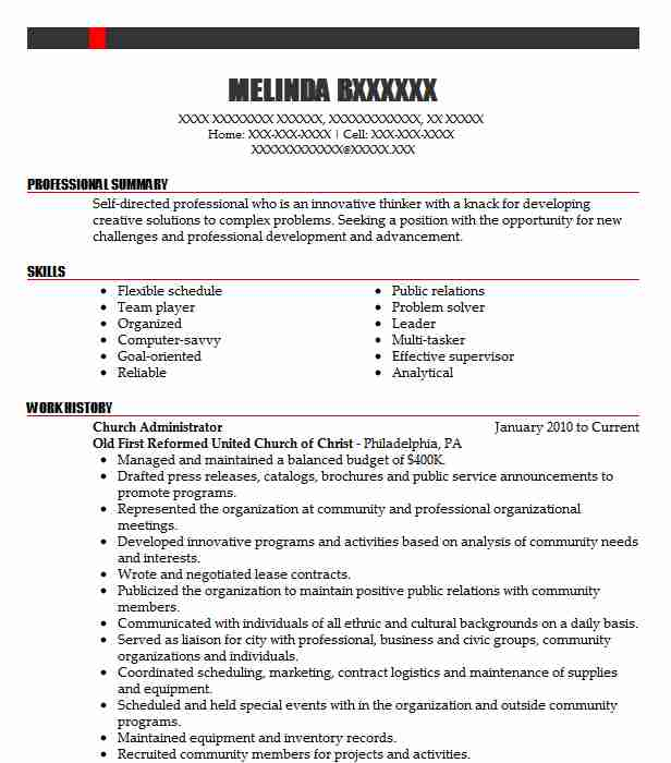 Church Administrator Resume Sample | LiveCareer