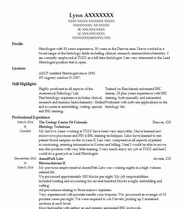 Histology Technician Resume Sample | Technician Resumes | LiveCareer