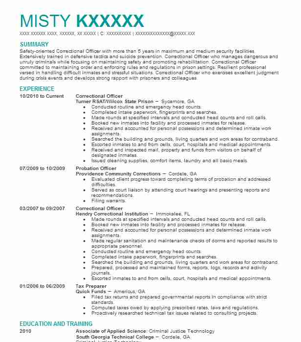 Correctional Officer Resume Example Turner Rsat Wilcox State Prison