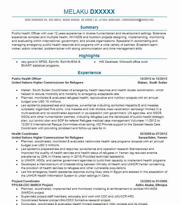 Public Health Officer Resume Example City Of Chester