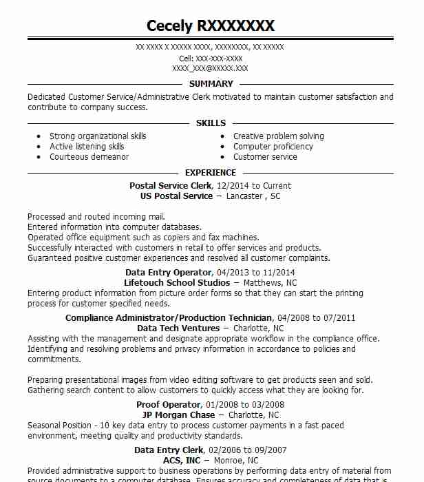 Post Resume Free: Postal Service Clerk Resume Sample