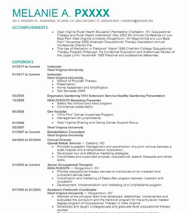Instructor  Occupational Therapy Resume