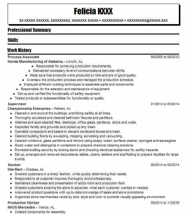 process associate resume sample