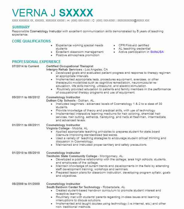 55 Vocational Training Resume Examples In Alabama Livecareer