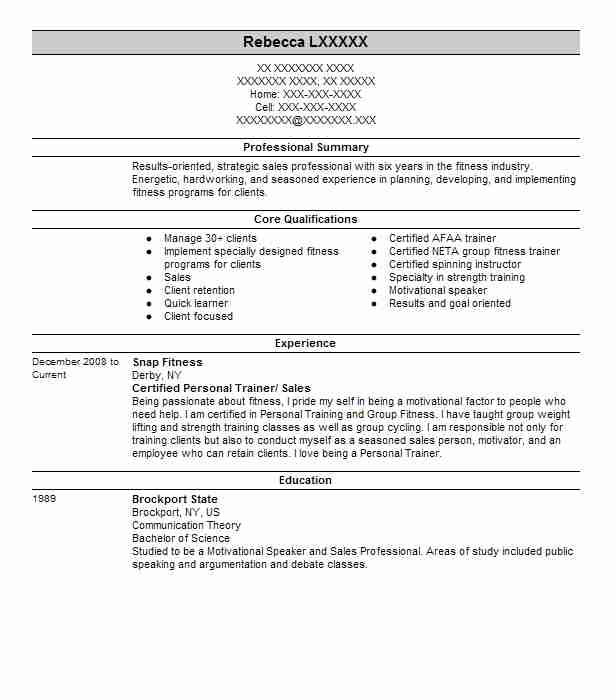 Certified Personal Trainer Sales Resume Example Snap Fitness