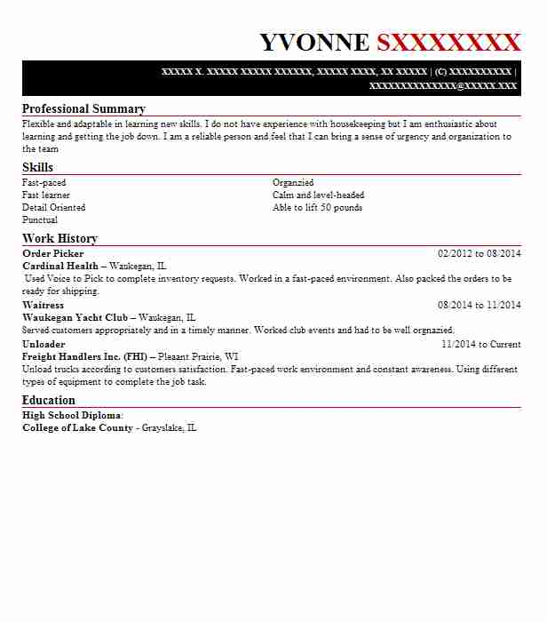 best order picker resume example