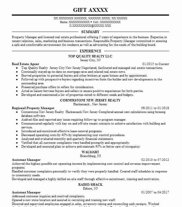 27250 Property Management Resume Examples | Real Estate Resumes ...