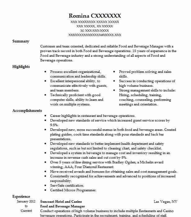 food and beverage manager resume sample