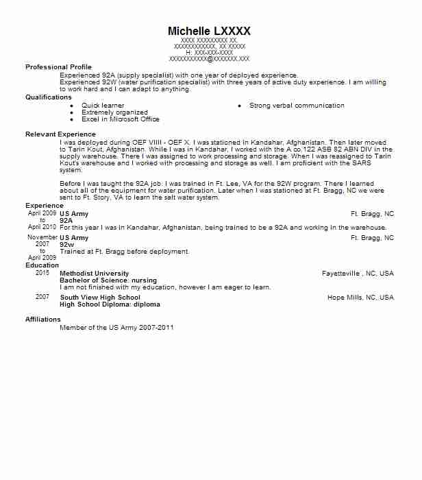 92A Supply Specialist Resume Example US Army RESERVE