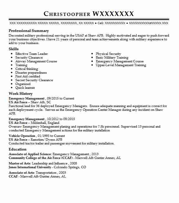 Emergency Management Resume Sample | Technician Resumes | LiveCareer
