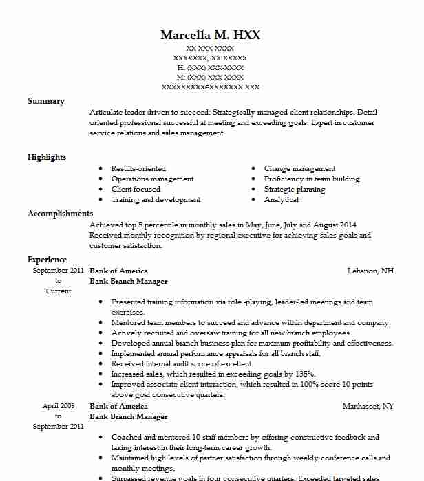 Bank Branch Manager Resume Sample Manager Resumes Livecareer