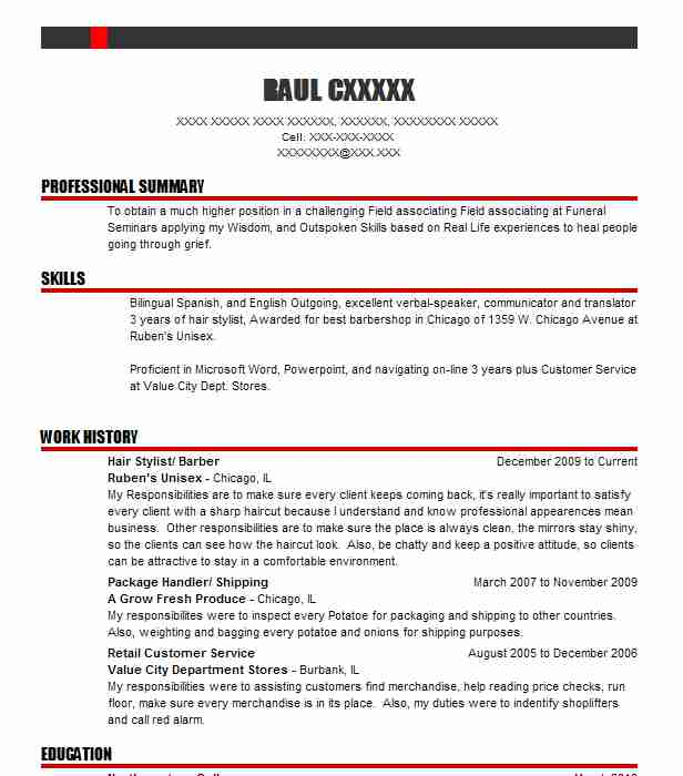 Hair Stylist/ Barber  Barber Resume