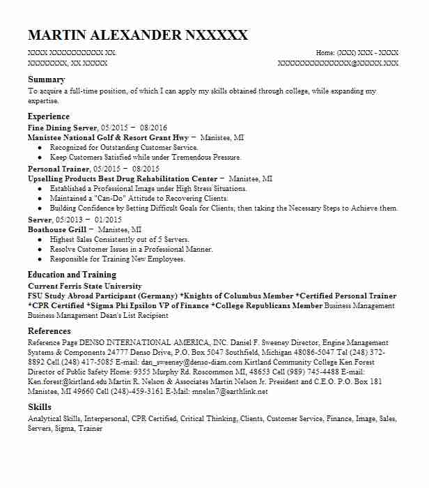 fine dining server resume sample