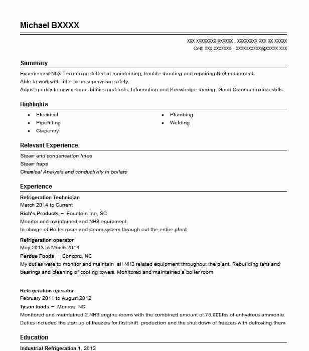 Refrigeration Technician Richs Products