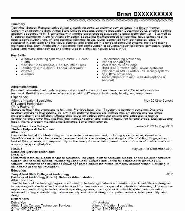 it support technician resume sample