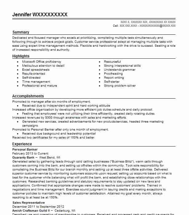 personal banker resume objectives resume sample