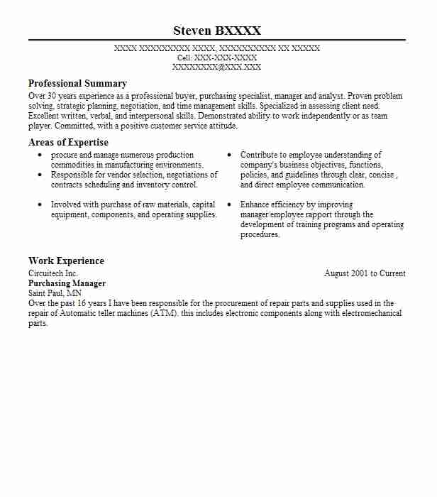 1 resumes matching purchasing and procurement resume samples in stillwater minnesota - Procurement Resume Examples