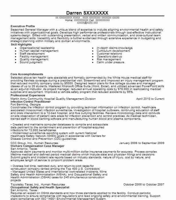 infection control practitioner resume sample