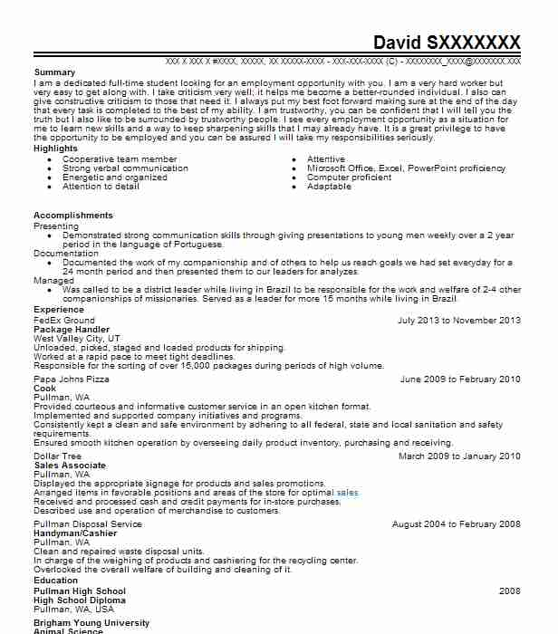 package handler - Animal Science Resume Examples