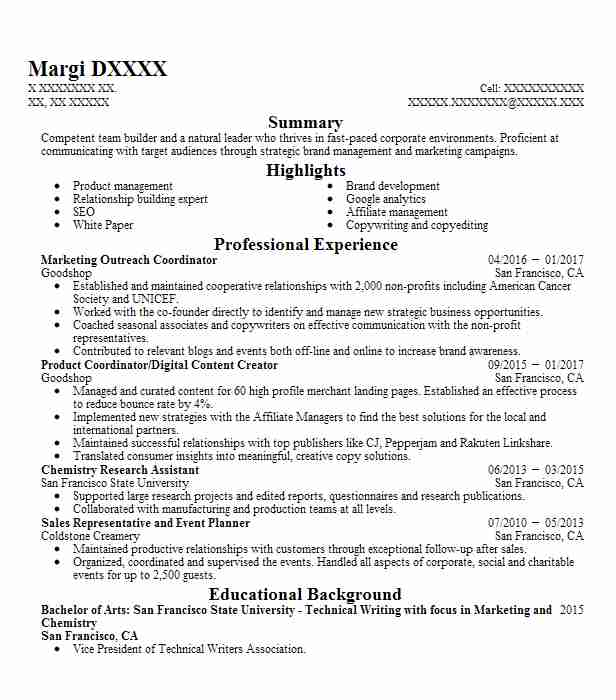 marketing outreach manager resume example chegg