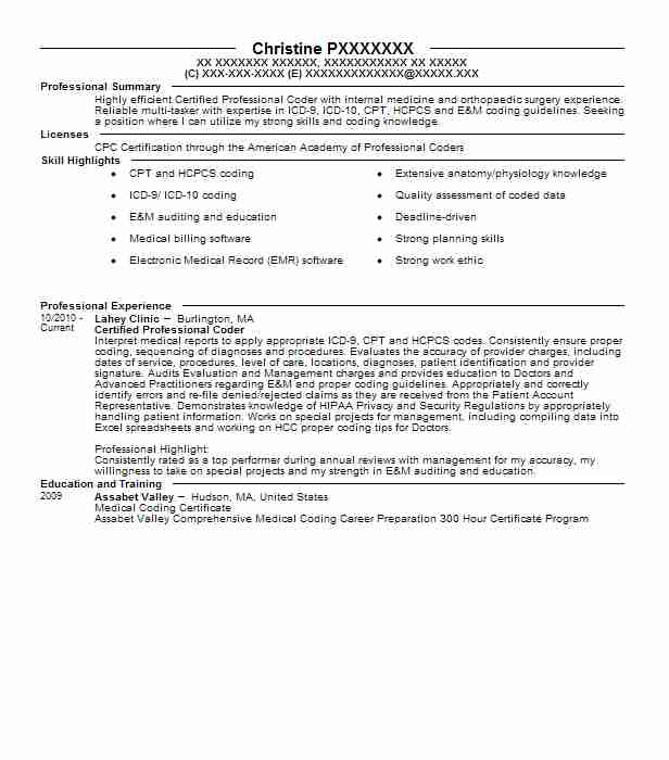 certified professional coder  cpc  resume example